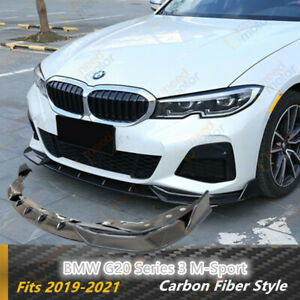 For Bmw 3 Series G20 M Sport 2019 2021 Front Bumper Lip Car Spoiler Carbon Fiber