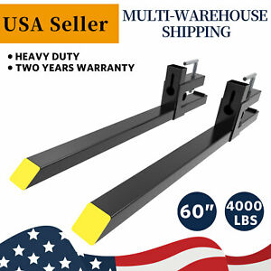 Tractor Pallet Forks 60 4000lbs Clamp On Bucket Loader Attachment Skid Steer