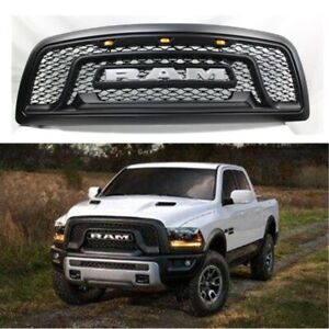 Fit For 2009 2012 Dodge Ram 1500 Grille Rebel Style Front Grill Hood 3 Led Usa
