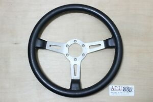Rare Vintage Abarth Silver Leather Steering Wheel 350mm 35cm Fiat Porsche 911