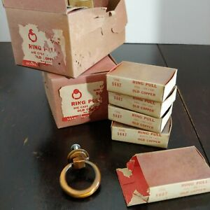 4 Vintage Sears Die Cast Mid Century Cabinet Drawer Ring Pull Knobs Copper Lot