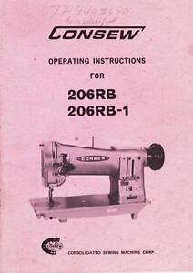 Consew 206rb And 206rb 1 Operation Instructions Manual In Acrobat Pdf Format