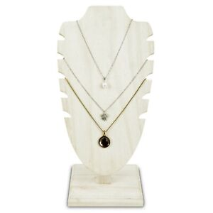 Antiqued White Wooden Adjustable Necklace Chain Jewelry Display Stand 10 h