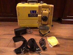 Topcon Gts 304 Total Station With Charger Carry Case And Straps