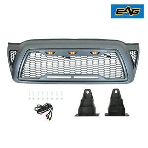 Eag Fit 2005 2011 Toyota Tacoma Grille Grill Packaged Gray W Amber Led Lights