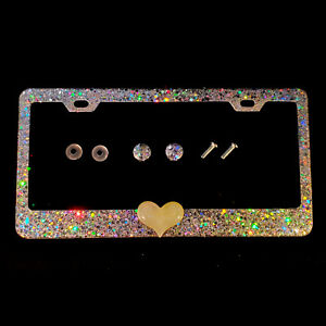 3d Bling License Plate Frame With Chunky Silver Glitter With Large White Heart