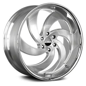 26 Strada Wheels Retro 6 Silver Brushed Chrome Ss Rims Tires Fit Silverado