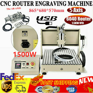 Usb 5 axis Cnc6040 Router Engraver 5 Rotating Axis Vfd Metal Milling Cut Machine