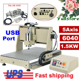 Usb 5 Axis 1 5kw Cnc 6040 Router Engraving Machine Wood Metal Steel Mill cutting