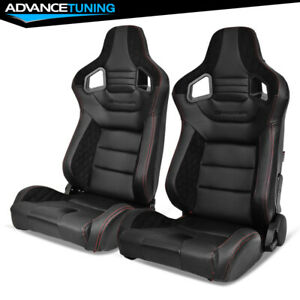 Reclinable Pair Racing Seats Dual Sliders Black Pu carbon Leather suede