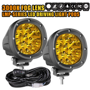4 Round Led Driving Spot Lights 3000k Fog Yellow Off Road 4wd X2 Wiring Kit