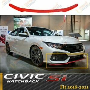 For 2017 2021 Civic Hatchback Si Hfp Style Front Bumper Lip Spoiler Glossy Red