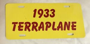 1933 Terraplane Front License Plate Flat Tag Hudson Essex Yellow Red 6 Or 8