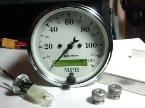 Autometer 1688 Old Tyme White 3 1 8 Programmable Speedometer Gauge 0 120mph