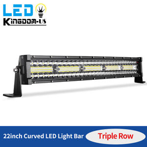 450w 22inch Curved Led Light Bar Tri Row Driving Ute Truck Suv 4wd Atv Boat 24