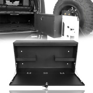 Black Steel Foldable Tailgate Table Storage Lock Box Fit 15 18 Jeep Wrangler Jk