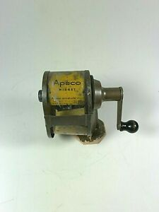 Vintage Midget Pencil Sharpener Wall Mount Manual Apsco Yellow