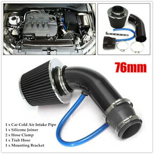 Car Cold Air Intake Filter Induction Pipe Power Flow Hose Kit W silicone Joiner