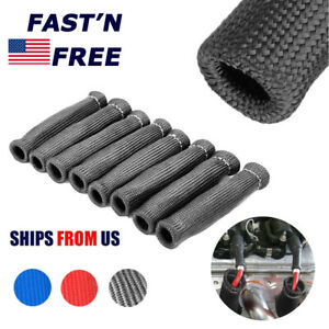 8pcs Spark Plug Wire Boots Protectors Sleeve Heat Shield Cover For Sbc Bbc 2500