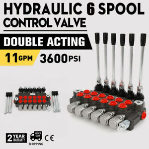 Hydraulic Control Valve Double Acting 11 Gpm 3600 Psi Bspp Ports 6 Spool