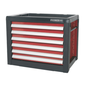 Sealey Ap2403 Tool Box Top Chest 6 Drawer Ball Bearing Runners Red Black New