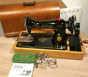 Vintage Singer 15 15k80 Handcrank Sewing Machine With Accessories