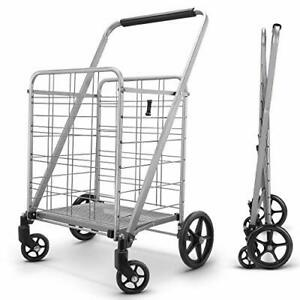 Newly Released Grocery Utility Flat Folding Shopping Cart with 360 Rolling S