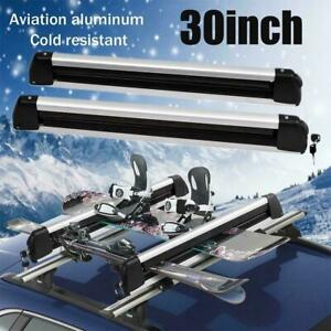 30 Ski Roof Rack Carrier Snowboard Holder Roof Bars Mounted W Locks Universal
