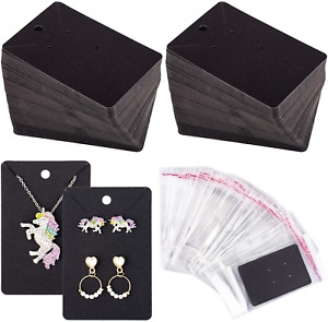 150 Pcs Necklace Earring Display Card With 200 Self seal Bags Earring Black