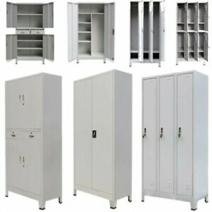Locker Cabinet Steel Office School Storage Cupboard Shelves Wardrobe 4 Sizes