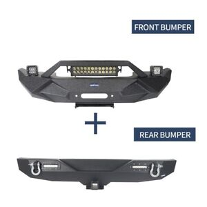 Fit Jeep Wrangler Jk 2007 2018 Steel Stubby Front Rear Bumpers Combo Off road
