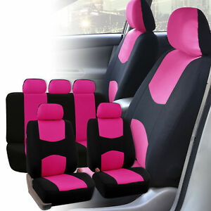 Pink Car Seat Covers Pink Black Set For Auto Suv Truck W 5 Head Rests