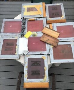 9 Silk Screen Frames W mesh Graphics 4 Butterfly Clamps 2 Squeegees Silk