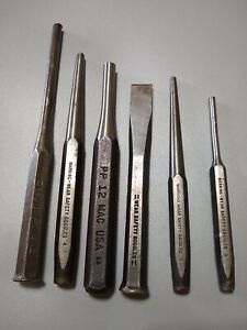 Snap on Mac Tools 6 Piece Assorted Steel Punch Custom Set free Shipping