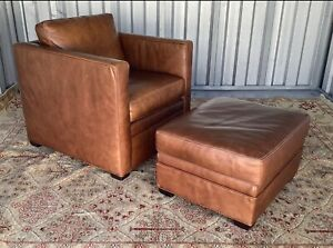Exceptional Mitchell Gold Art Deco Style Leather Club Chair Ottoman
