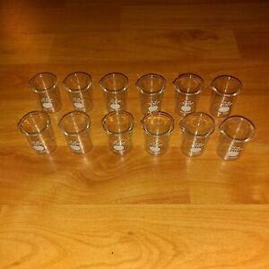 Lot Of 12 Vintage Pyrex 10 Ml Flat Bottom Beakers White Stamp No 1000 Pour Top