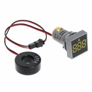 Panel Mount Square Shape 100a Ac Digital Ammeter Amp Meter Yellow Led Display