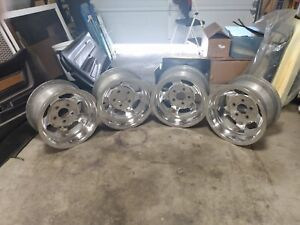 4 Vintage Us Indy 15x8 1 2 Slotted Rims 5x5 Chevy Truck Pattern Polished