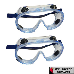 Safety Goggles Over Glasses Lab Work Eye Protective Eyewear Clear Lens 2 pair
