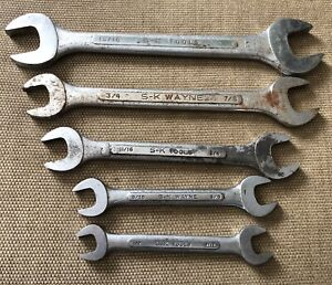 Vintage S k 5 Pc Double Open End Wrench Set 1 2 To 1 Usa