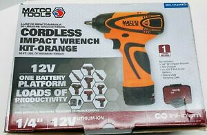 Matco Tools Mcl1214iwko 12v Cordless Infinium 1 4 Impact Wrench Kit Orange