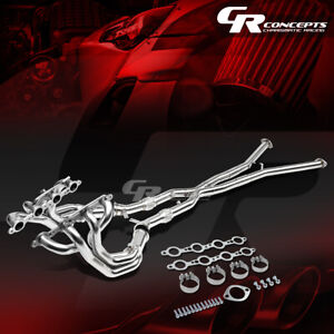 Metallic 4 1 Long Tube Exhaust Manifold Header x pipe For 97 04 Corvette 5 7l V8