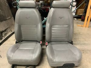1994 04 Ford Mustang Oem Lh Rh Gray Leather Seats