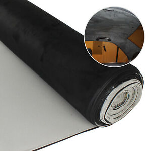 Suede Headliner Fabric W foam 90 x60 Black Ceiling Replace Upholstery Material