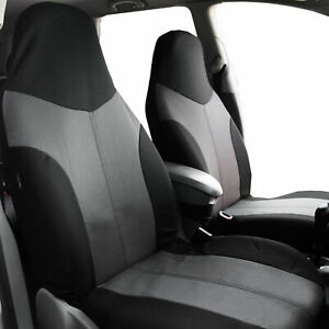Highback Front Bucket Seat Covers For Car Suv Auto Van Gray Black