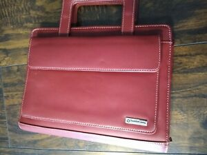 Franklin Covey Planner Binder Red Leather Zip Around Handles Purse Organizer Vtg
