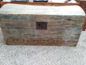 Early Paint Decorated Wooden Dome Top Trunk