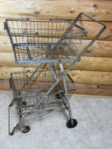 Grocery Shopping Cart Folding Basket Carrier 1930 s 1940 s Industrial Decor
