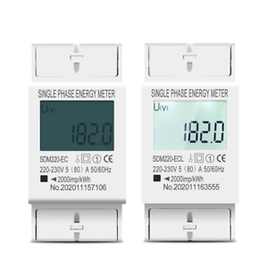 80a 230v Din Rail Single Phase Energy Meter Lcd Digital Power Consumption Home