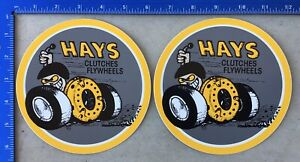 2 Hays Clutches Flywheels Vintage Decals Stickers New Original Rare Large Round